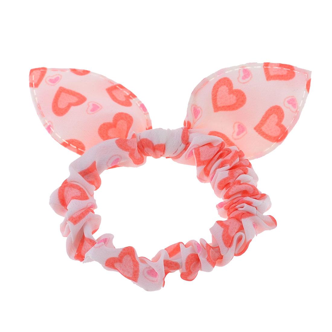 Ladies Rabbit Ear Shape Stretchy Band Hair Tie Ponytail Holder Light Pink White