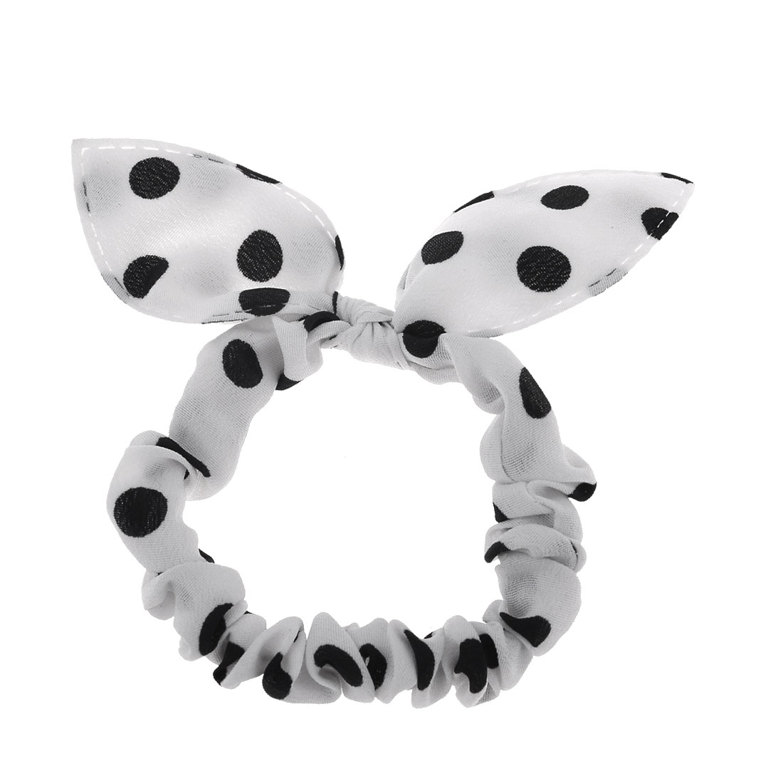 Ladies Black Dots Pattern Rabbit Ear Style Elastic Band Ponytail Holder White