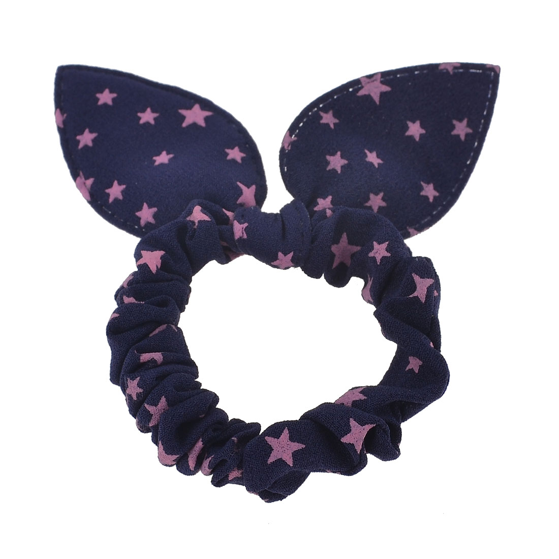 Rabbit Ear Shape Stretchy Band Hair Tie Ponytail Holder Navy Blue Pink for Women