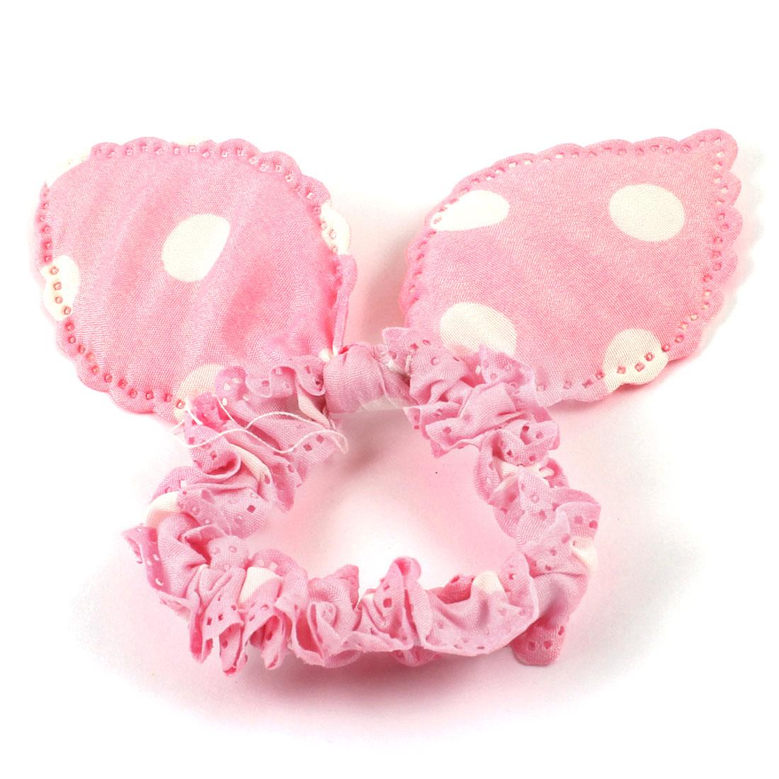White Polka Dot Rabbit Ears Detail Hair Tie Ponytail Holder Pink for Girls