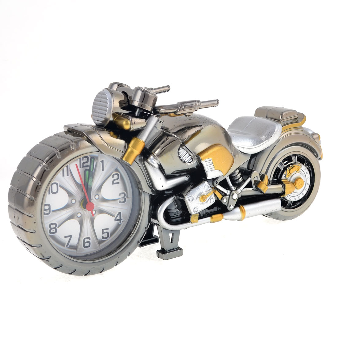 Desk Table Ornament PLastic Motorcycle Shaped Alarm Clock Silver Gray