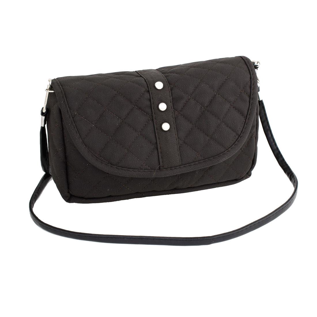 Woman Dark Brown Faux Leather Zipper Magnet Press Button Purse Handbag