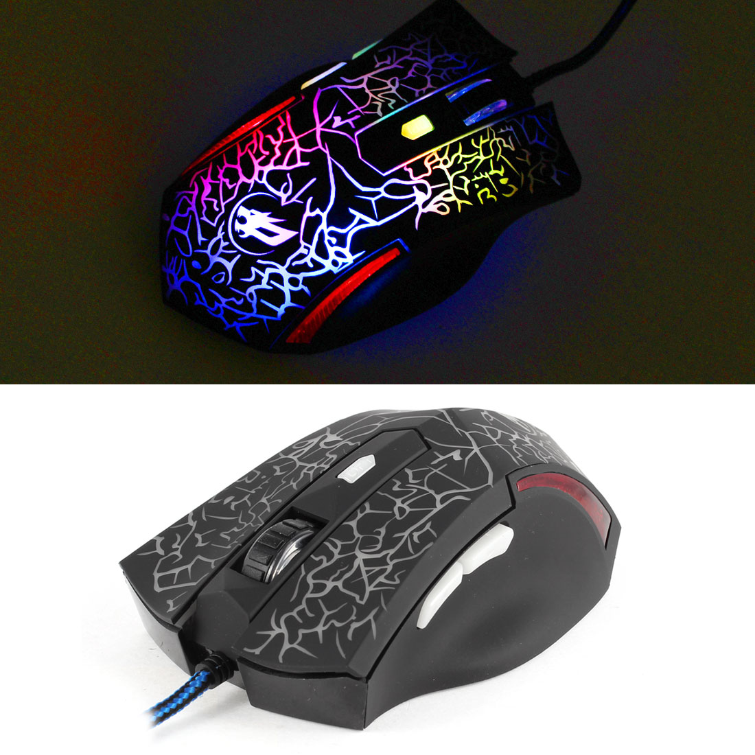PC 2400DPI Optical Adjustable 6D Button Wired Gaming Game Mice Mouse