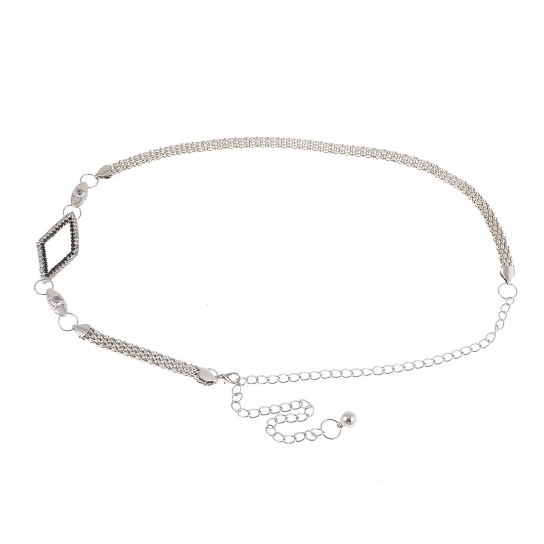 Silver Tone Metallic Lobster Clasp Waist Chain Belt for Lady