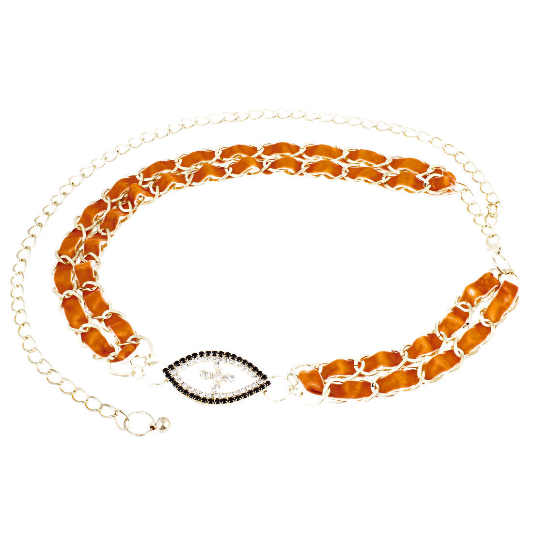 Rhinestone Decor Orange Gold Tone Adjustable Waist Chain Belt for Lady