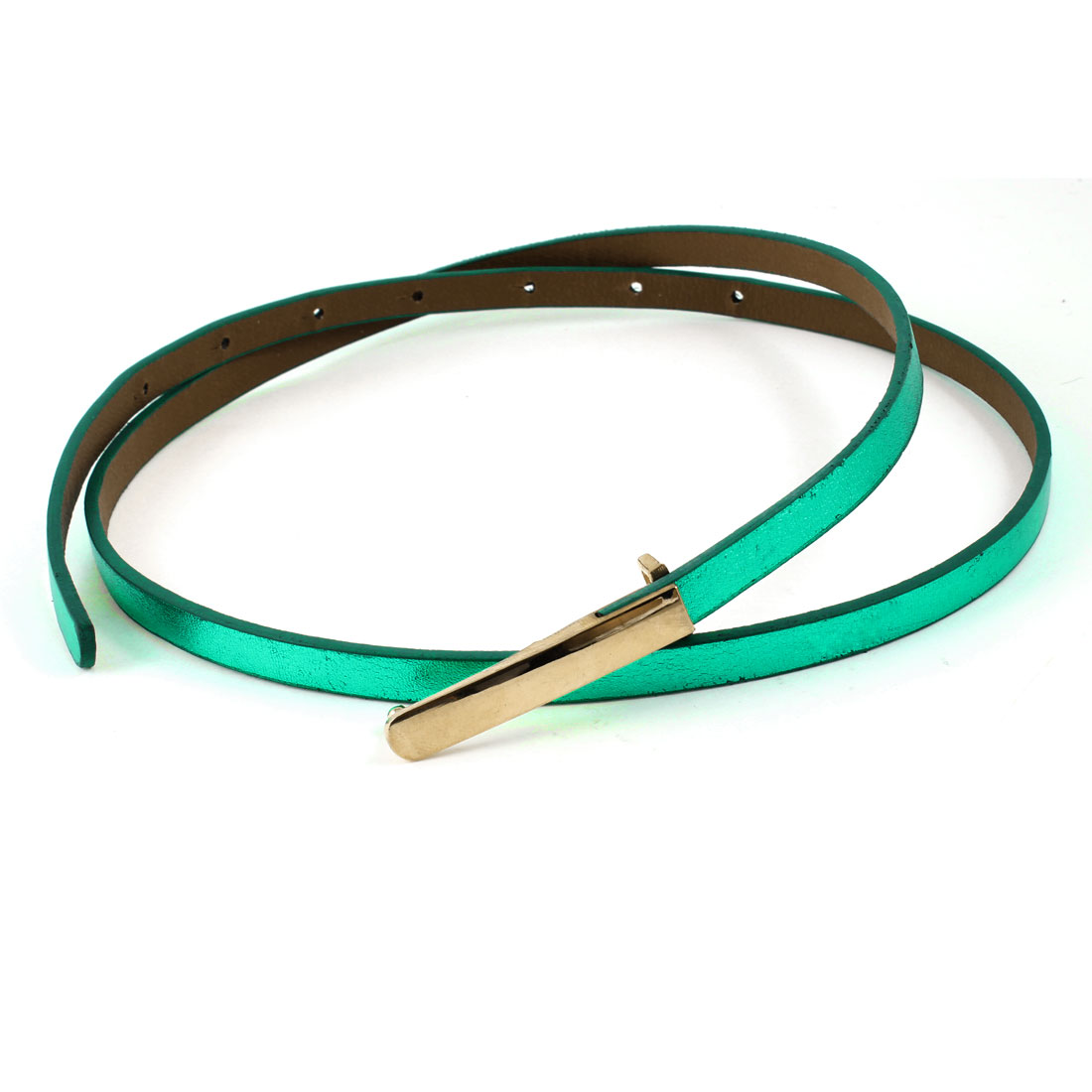 Green Faux Leather Press Buckle Adjustable Band Skinny Waist Belt for Women
