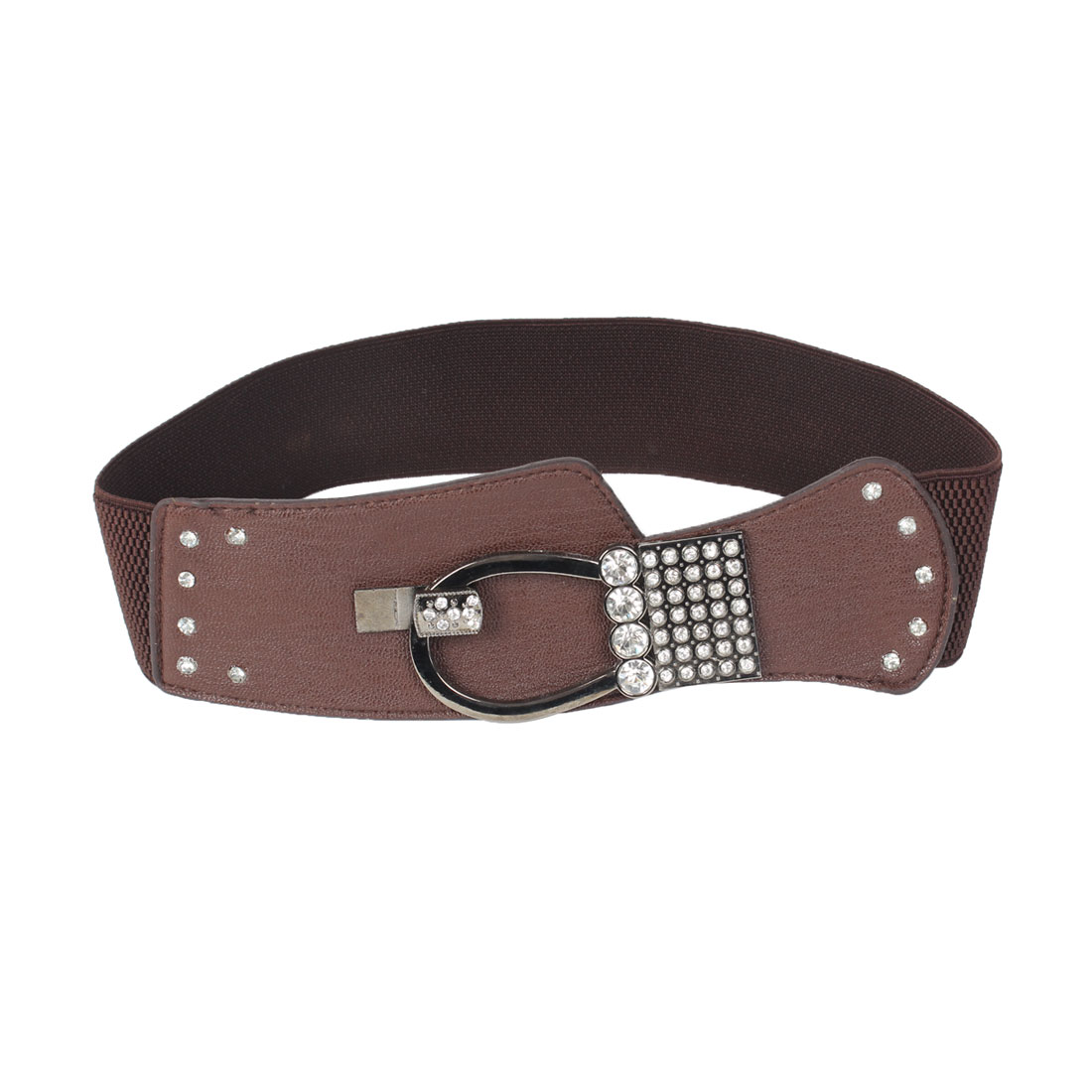 Coffee Color Faux Rhinsetone Detail Interlocking Buckle Elastic Waist Belt for Women