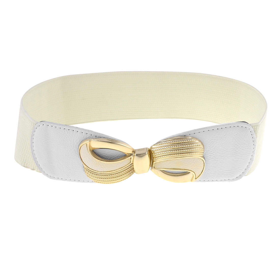 Off White Double Bowknots Detail Stretchy Waistband Waist Belt for Lady