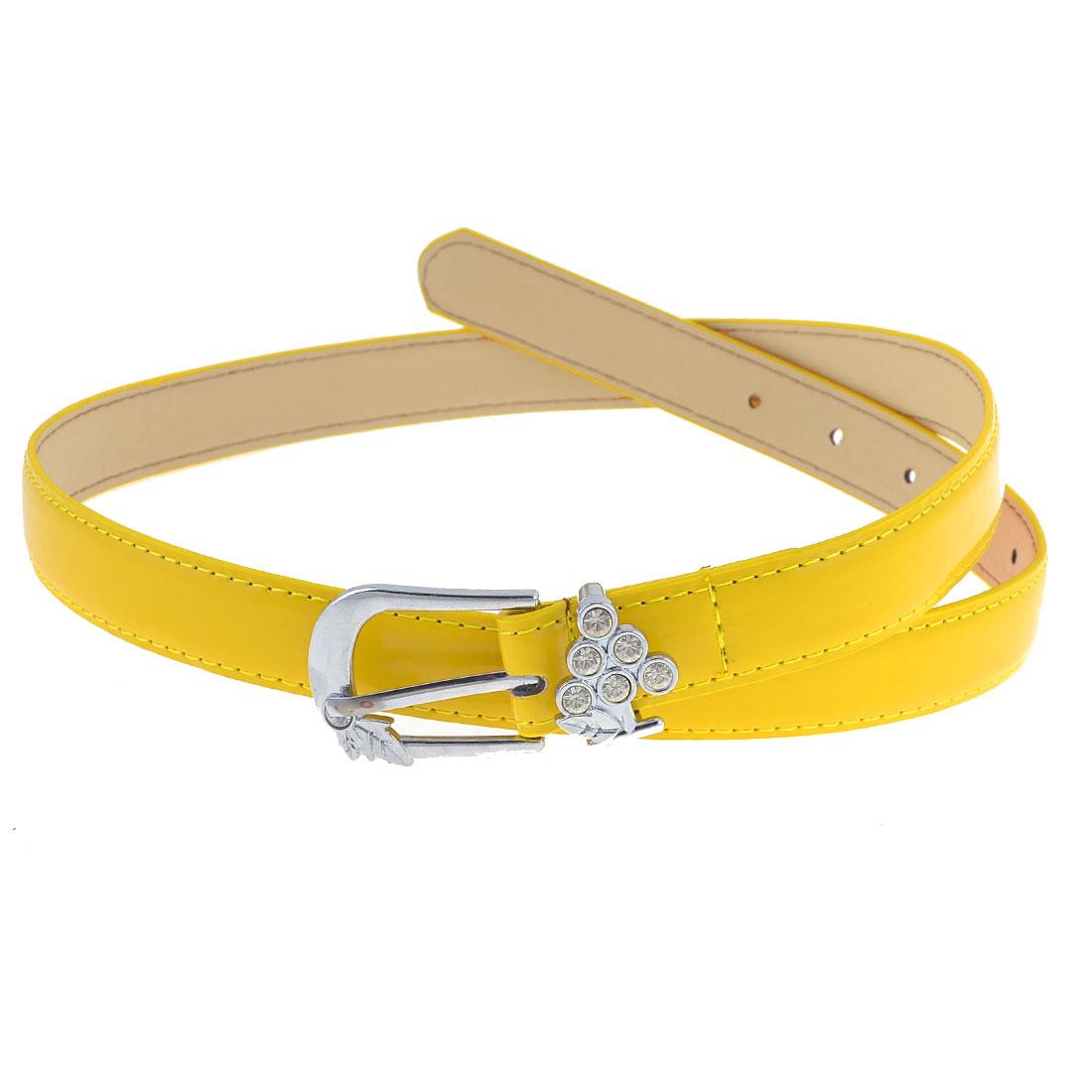 Yellow Leaf Decor Single Pin Buckle Adjustable Waist Belt for Woman