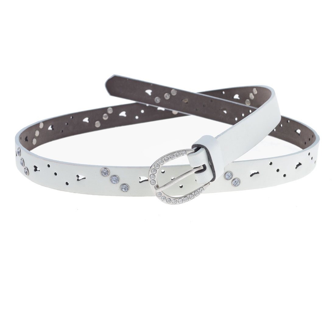 Women Rhonestones Inlaid Hollow Out Faux Leather Waistband Belt White