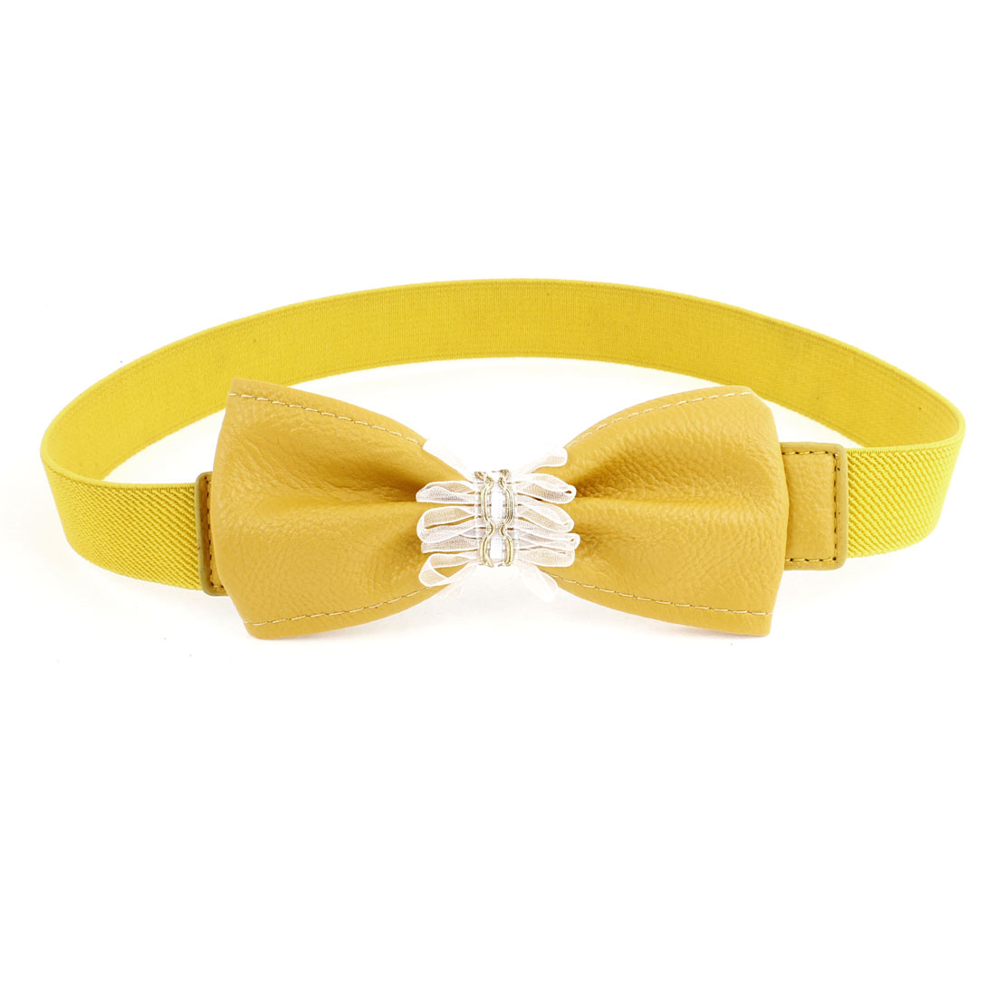 Faux Leather Bowknot Press Stud Button Cinch Skinny Waist Belt Yellow for Lady