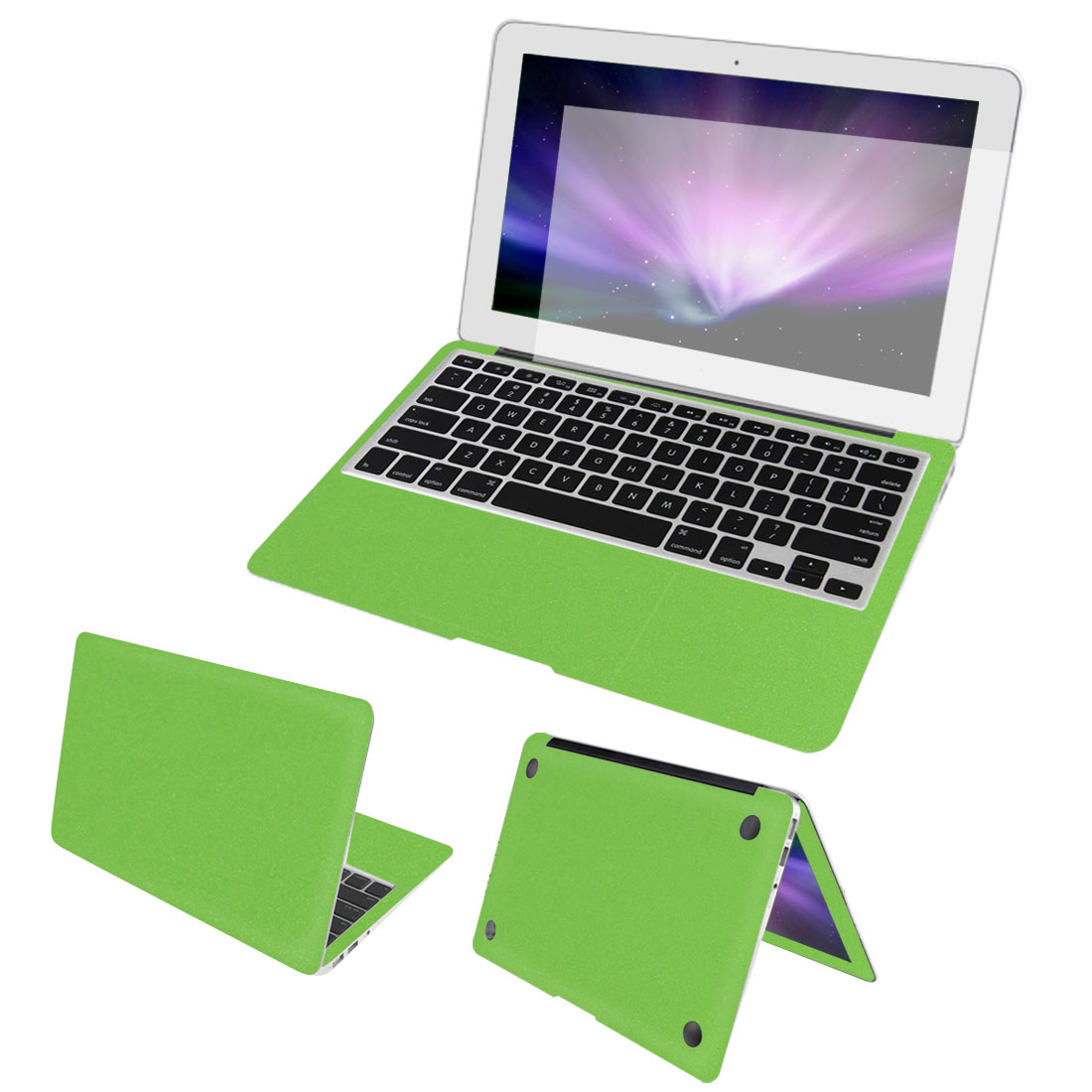 Full Body Wrap Guard Decal Green + Screen Film + Dust Cap for Macbook Air 13""
