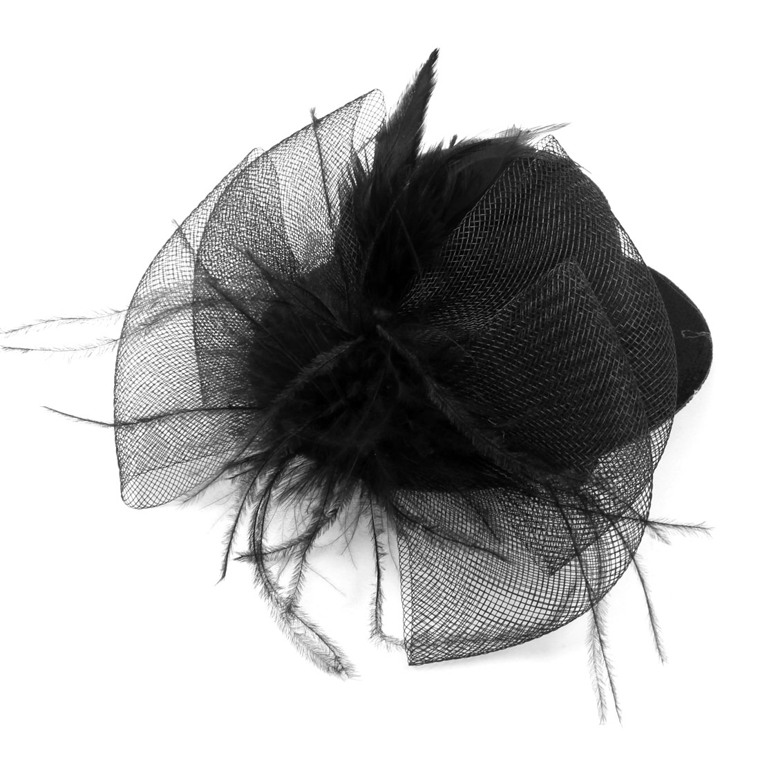 Party Headwear Faux Feather Meshy Bowknot Detail Alligator Top Hat Hair Clip Black