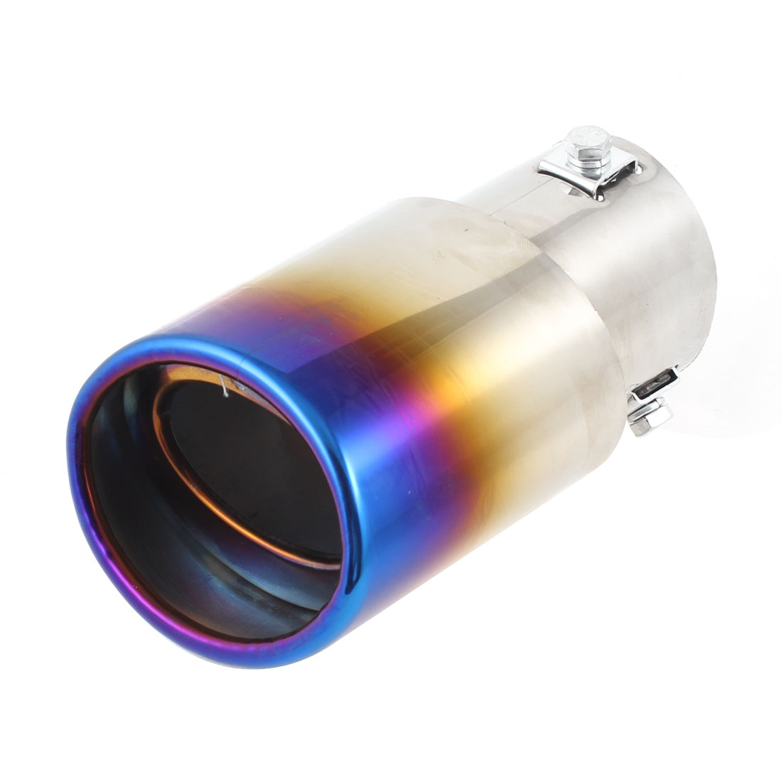 6cm Inlet Silver Tone Purple Royal Blue Tail Exhaust Pipe Muffler Tip