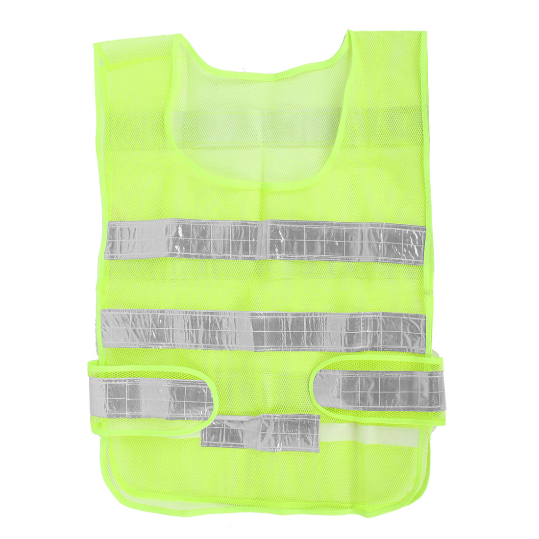 Yellow Green Stripes Spliced Safety Warning Reflective Vest for Exercise