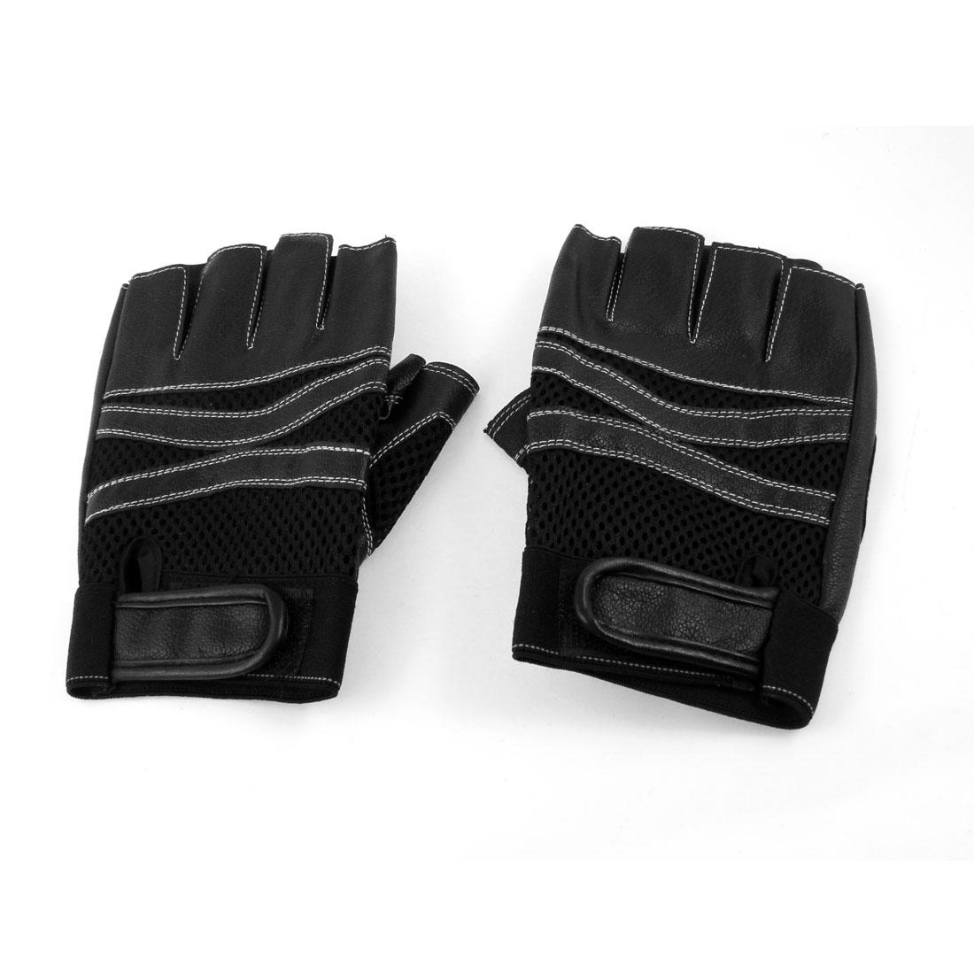 Men Women Pair Hook Loop Closure Faux Leather Half Fingers Sports Gloves Black