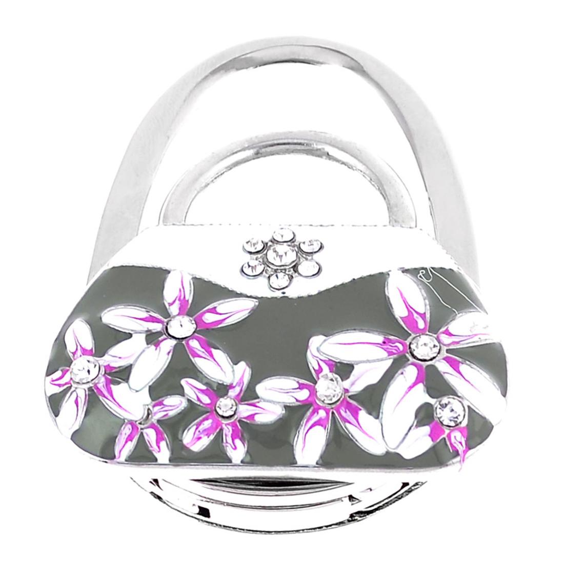 Rhinestone Inlaid Flowers Accent Handbag Shaped Silver Tone Hand Bag Hook Holder