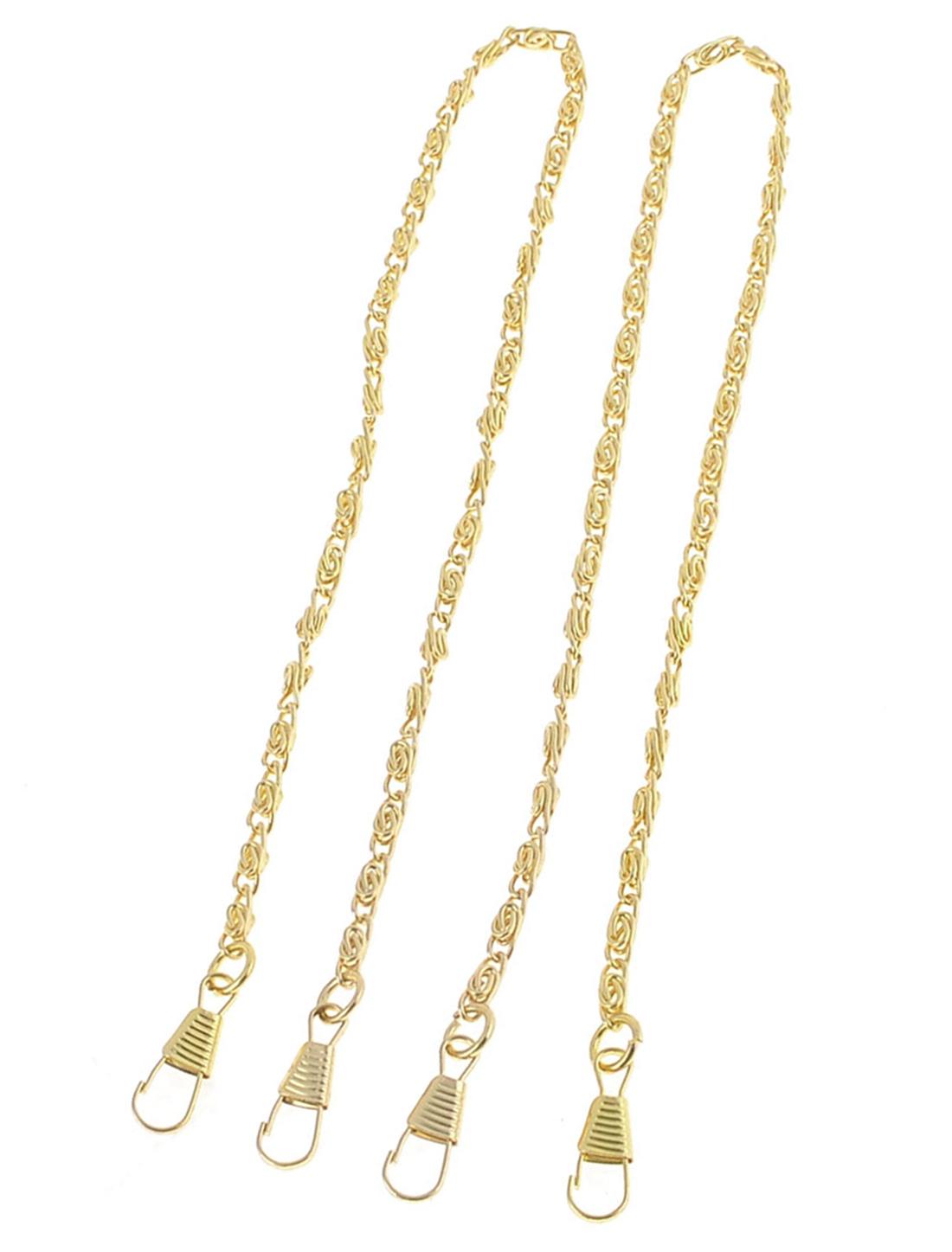 2 Pcs Gold Tone Metallic Detachable Clip Buckle Bag Chain 40cm