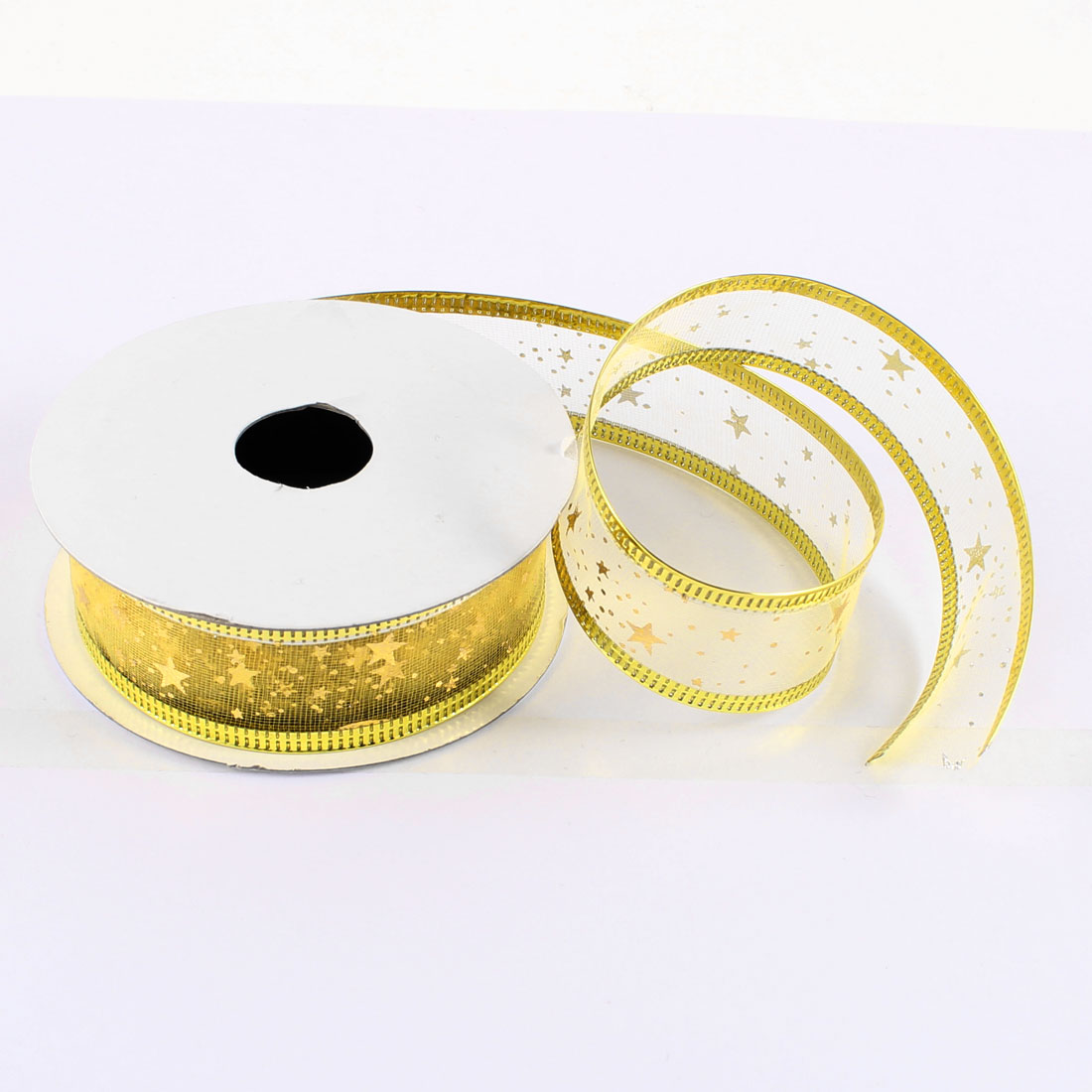 Christmas Festival Crafts Decor Gold Tone Edge Ribbon Roll Tape Yellow