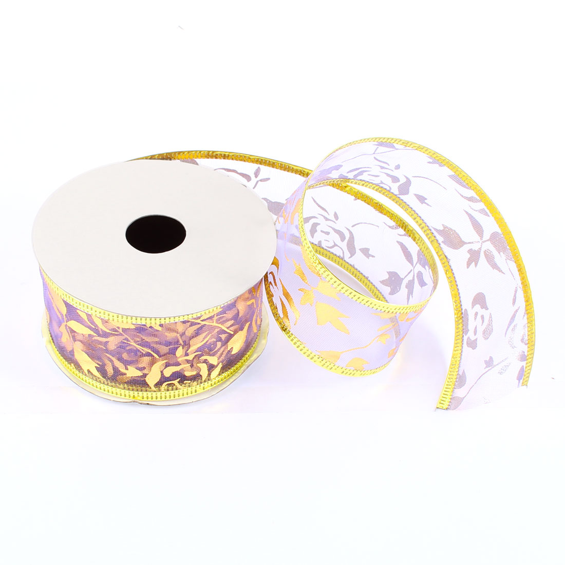 Gold Tone Christmas Adorn Xmas Satin Ribbon Roll Purple 2.7M 8.9Ft