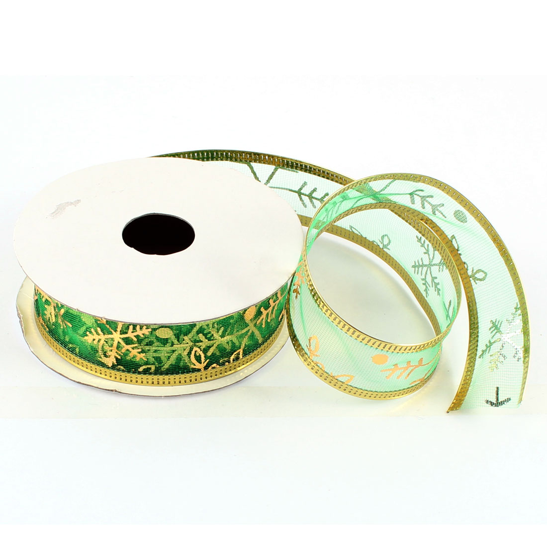 Xmas Ornament Snowflake Pattern Xmas Ribbon Roll Green Gold Tone