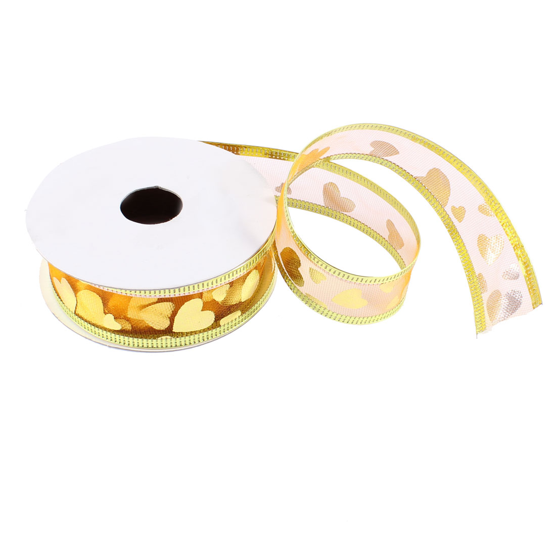 Gold Tone Flower Pattern Christmas Adorn Xmas Satin Ribbon Roll Pink