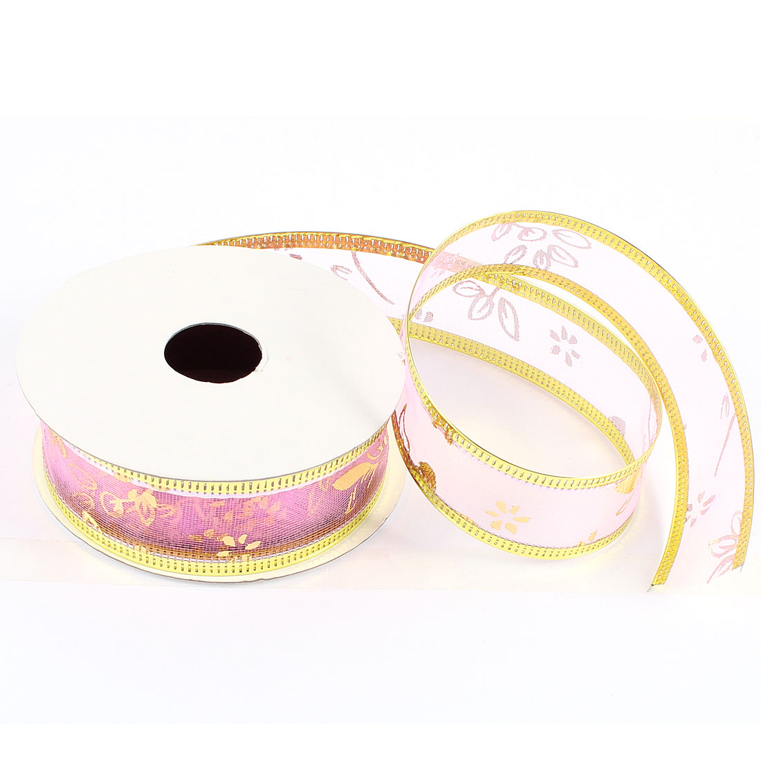 Holiday Accent 2.4cm Width Xmas Satin Ribbon Roll Pink Gold Tone