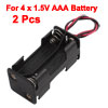 2pcs Black 2-Layers 4 x 1.5V AAA Batteries Battery Holder Case Box w Wire Leads