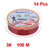 3# 0.285mm Dia 8.4Kg 100M Maroon Nylon Fishing Line Thread Spool 14 Pcs