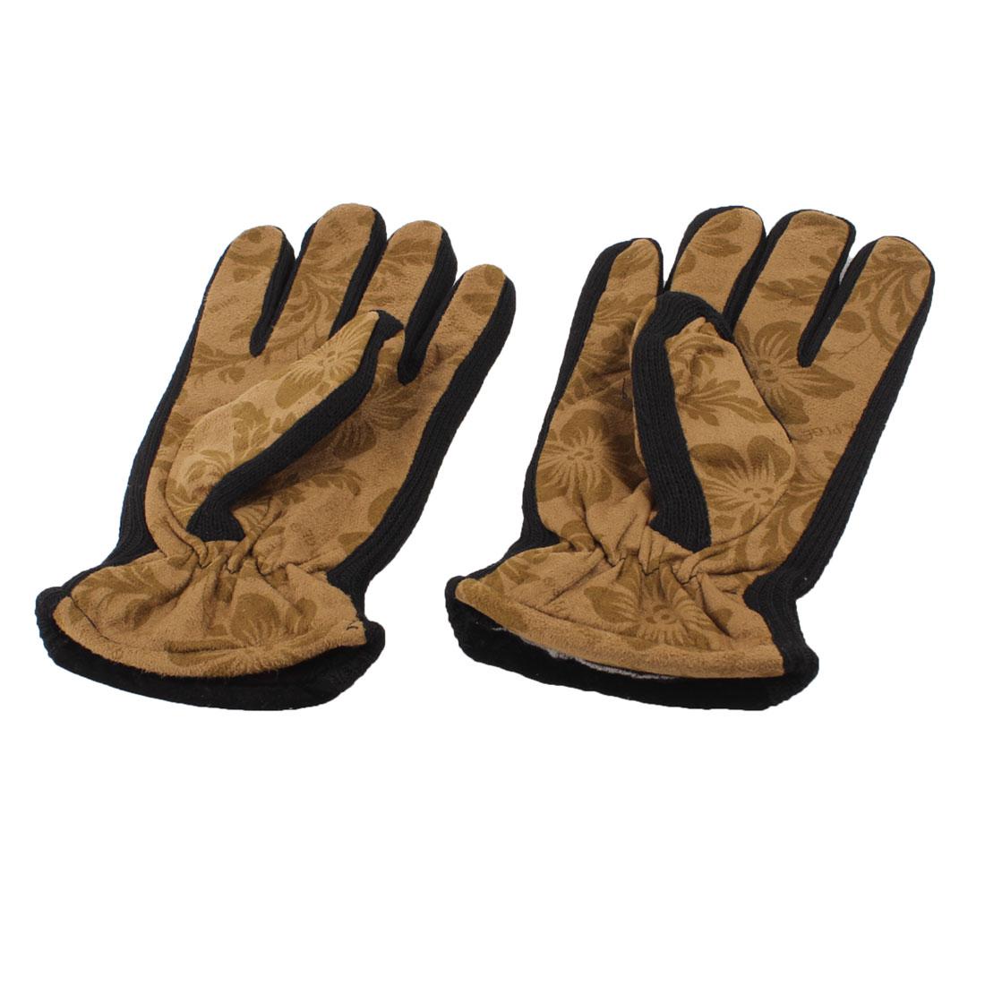 Ladies Wrist Hand Floral Pattern Warmer Warm Gloves Dark Khaki Black Pair