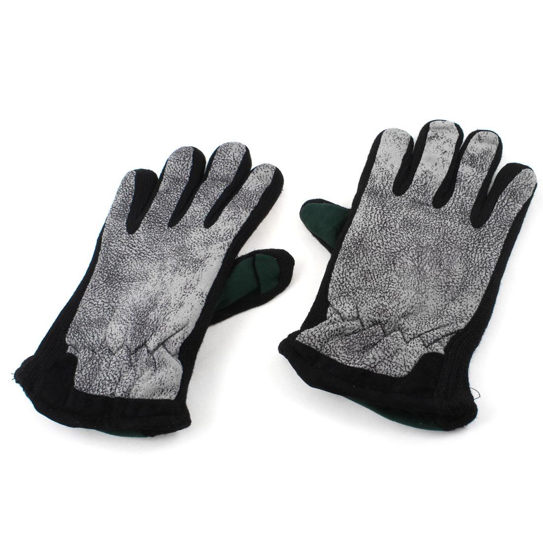 Ladies Wrist Hand Textured Warmer Warm Gloves Army Green Black Pair