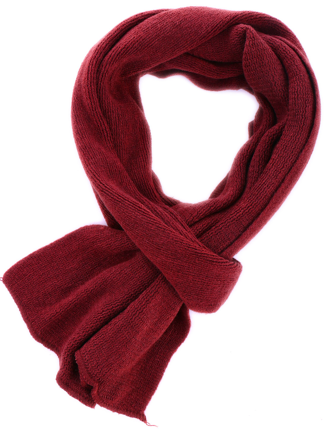 Men Solid Color Design Stretchy Burgundy Knit Scarf