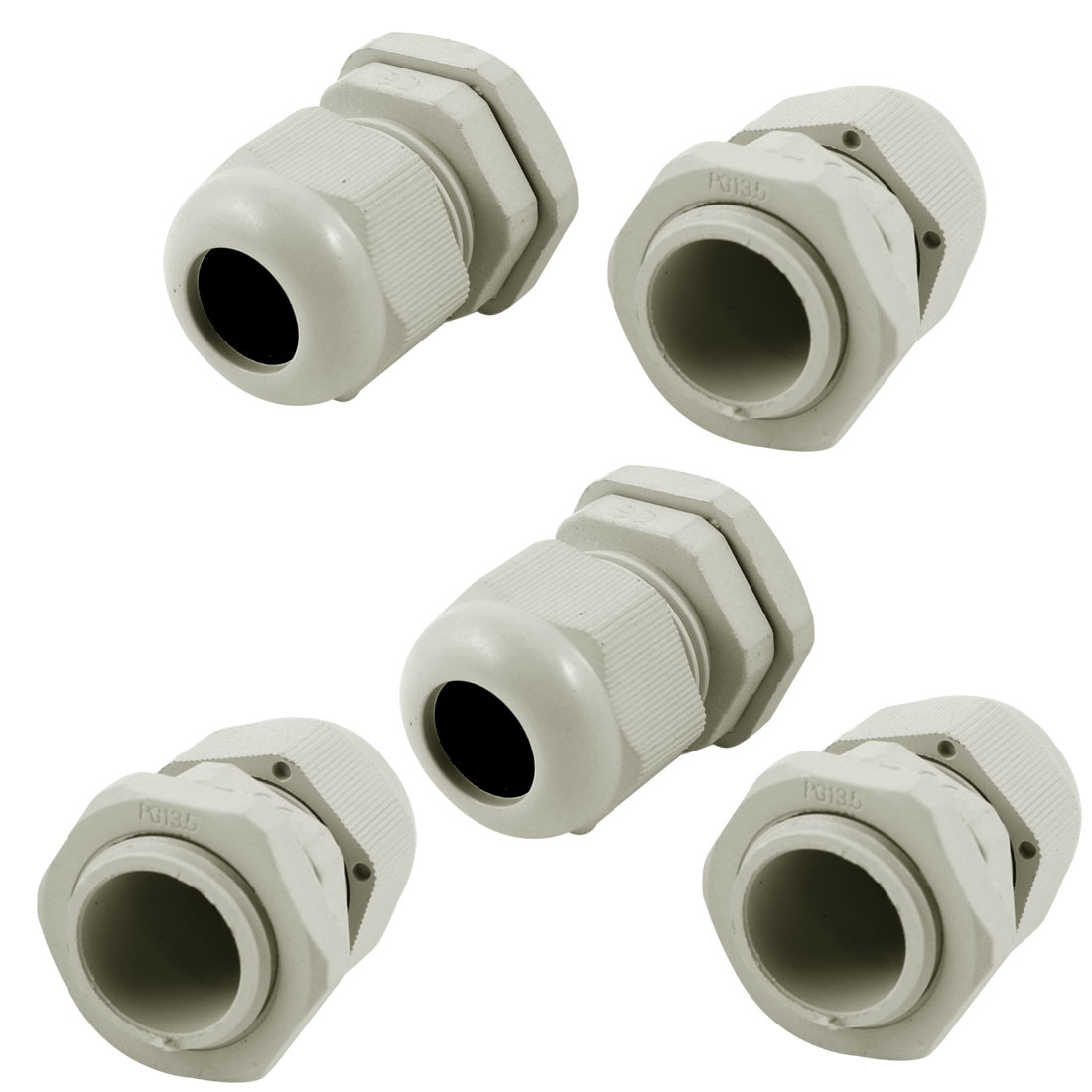 5 Pcs PG13.5 White Plastic Waterproof Connectors Cable Glands