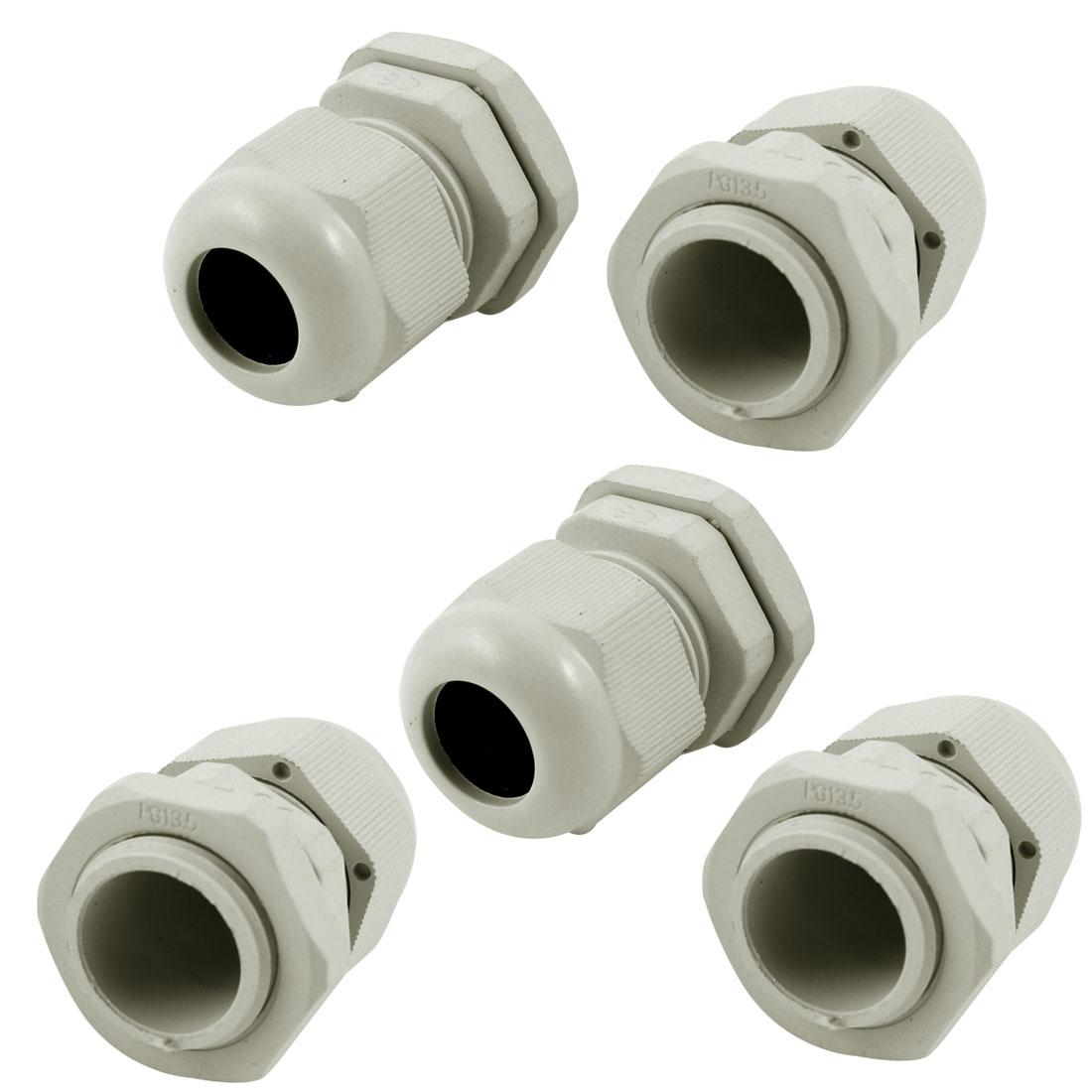 5 Pcs PG13.5 White Plastic Waterproof Connectors Cable Glands