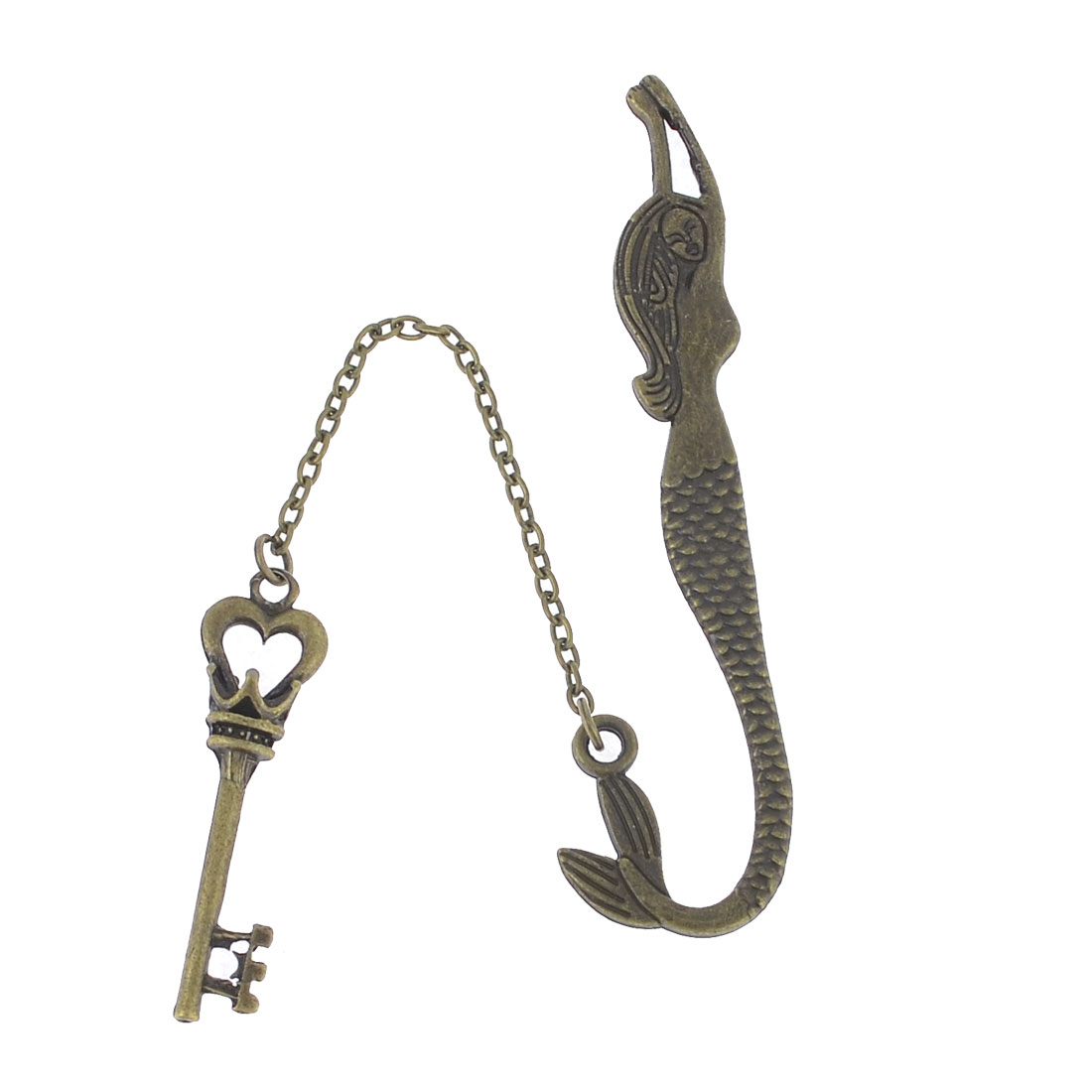 Bronze Tone Metal Key Mermaid Shaped Pendent Page Tag Bookmark