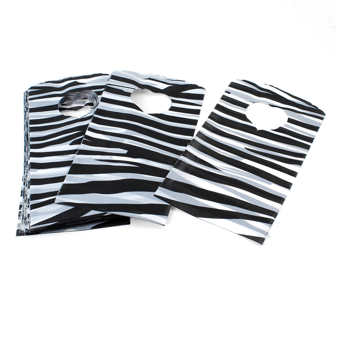 100 x Black White Plastic Zebra Pattern Gift Jewelry Bag 15cm x 9cm for Birthday