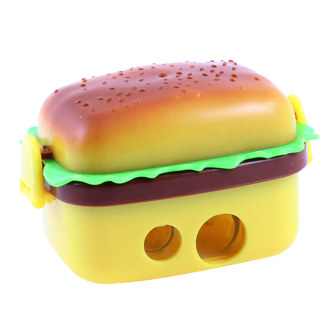 Double Holes Hamburger Shaped Protable Pencil Sharpener Yellow Brown w Erasers