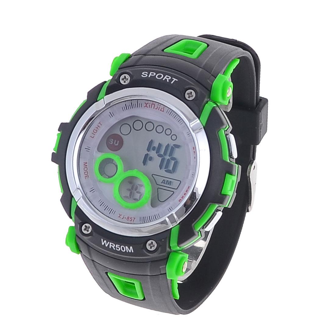 Men Adjustable Watchband Backlight Alarm Digital Sports Watch Black Green