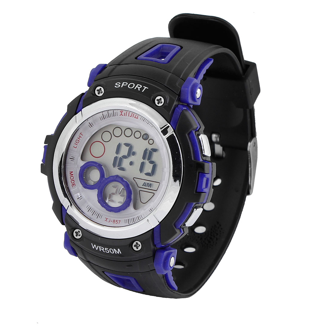 Men Round Dial Cold light Alarm Digital Sports Watch Black Blue