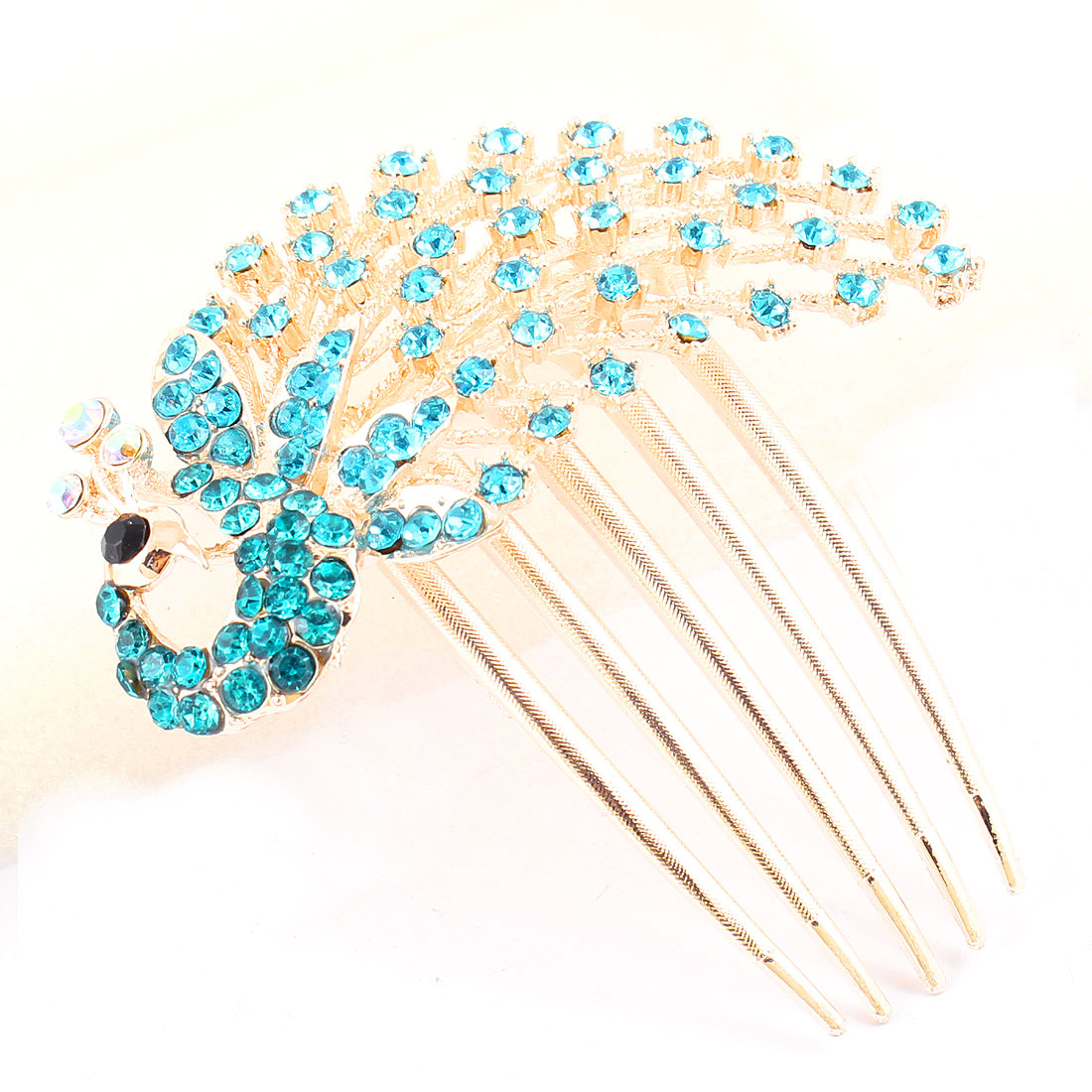 Lady Glittery Plastic Rhinestone Detailing Metal Comb Hairpin Turquoise