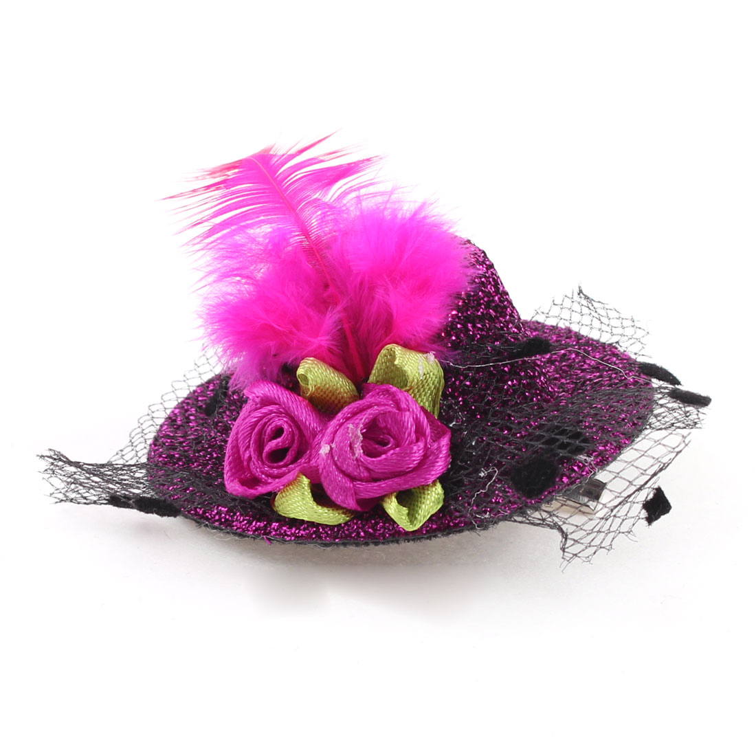 Party Headwear Floral Tinsel Detail Alligator Top Hat Hair Clip Pink