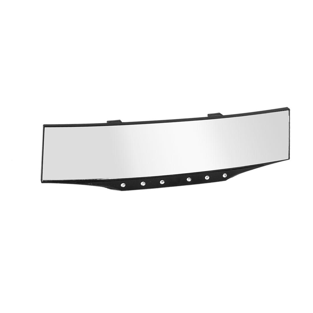 Black Plastic Rhinestone Inlaied Curve Car Interior Rear View Mirror 300mm