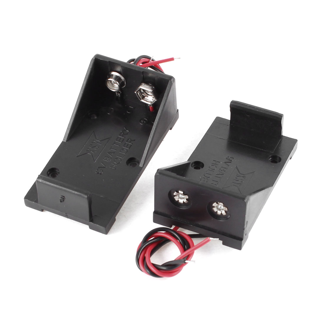 2 Pcs Black Plastic 9V Cells Battery Holder Case Box w Wired Leads