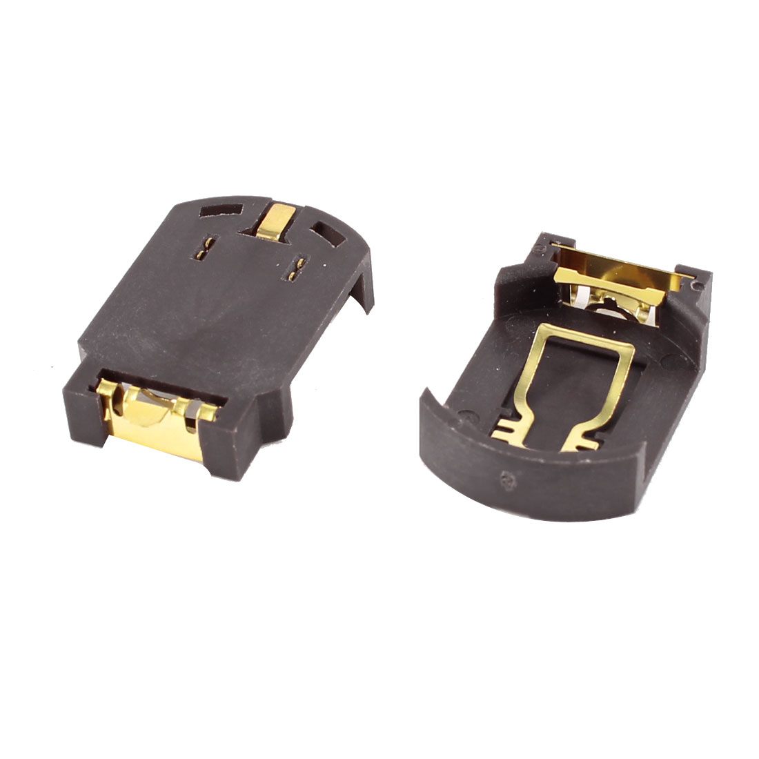 2 Pcs CR2032 2032 2025 Cell Button Battery Socket Holder Case SMD SMT Brown