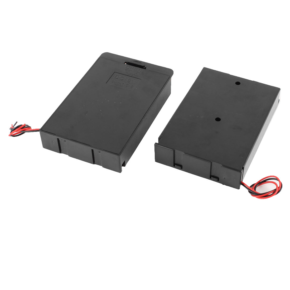 2 Pcs Black Plastic Battery Holder Case Wired w Cover for 6 x AA 9V Batteries