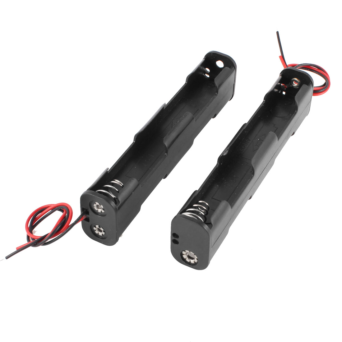 2 Pcs Dual Layers Black Plastic 4 x AA 6V Batteries Battery Holder Case w Leads