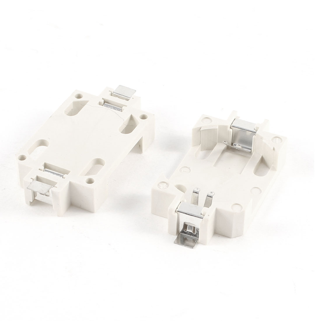 2 Pcs CR2032 Cell Button Battery Socket Holder Case SMD SMT Tin Plated White