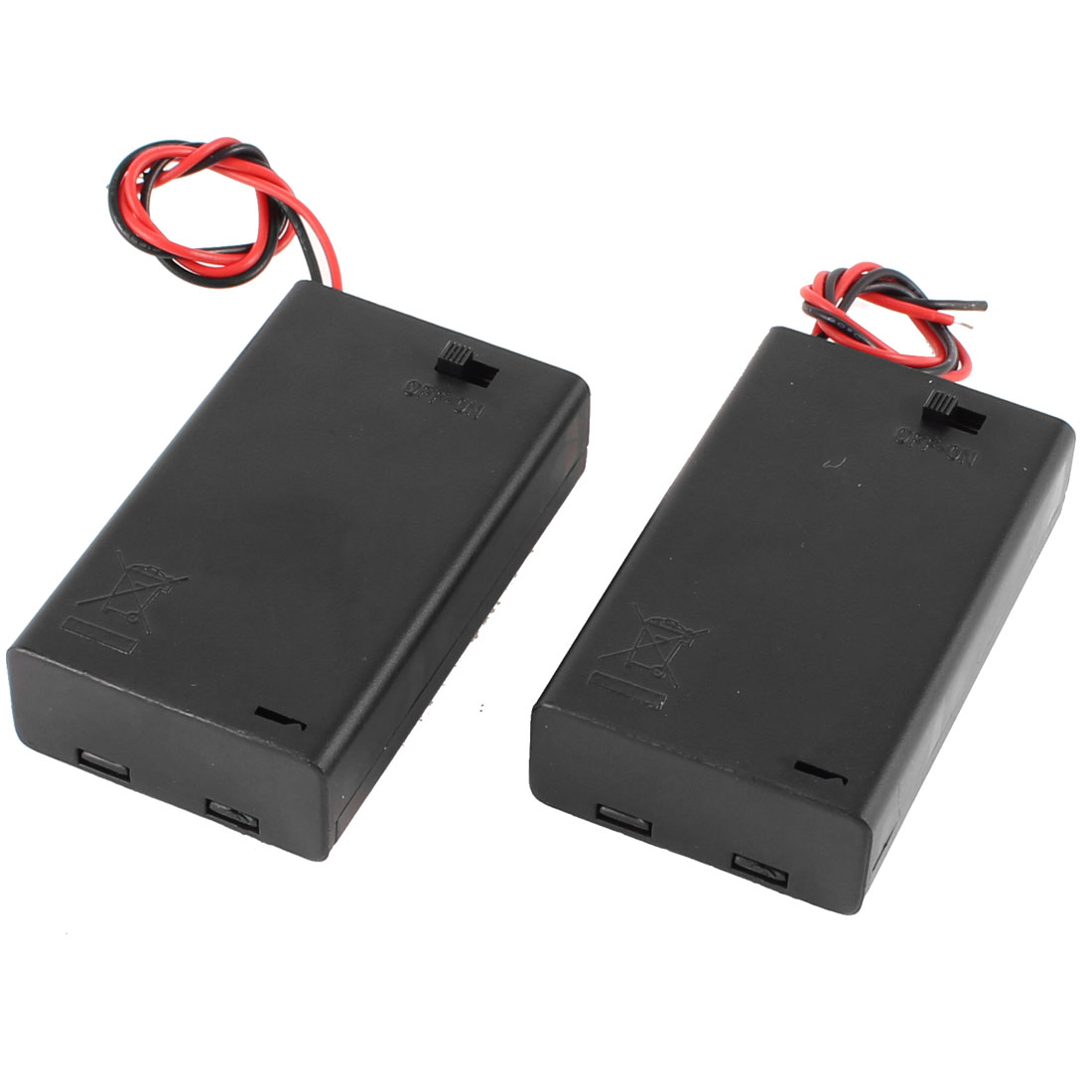 2 Pcs 3 x AAA 4.5V Batteries Battery Holder Case Box Wired ON/OFF Switch w Cover