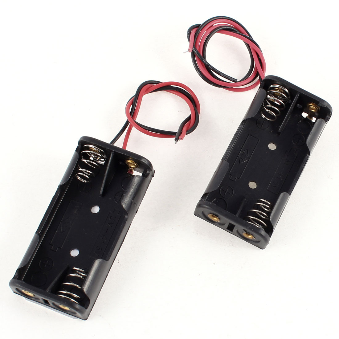 2 Pcs Black Plastic Battery Holder Case Wired Leads for 2 x 1.5V AAA Batteries