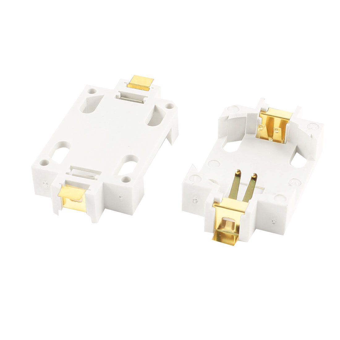 2 Pcs CR2032 Cell Button Battery Socket Holder Case SMD SMT Gold Plated White